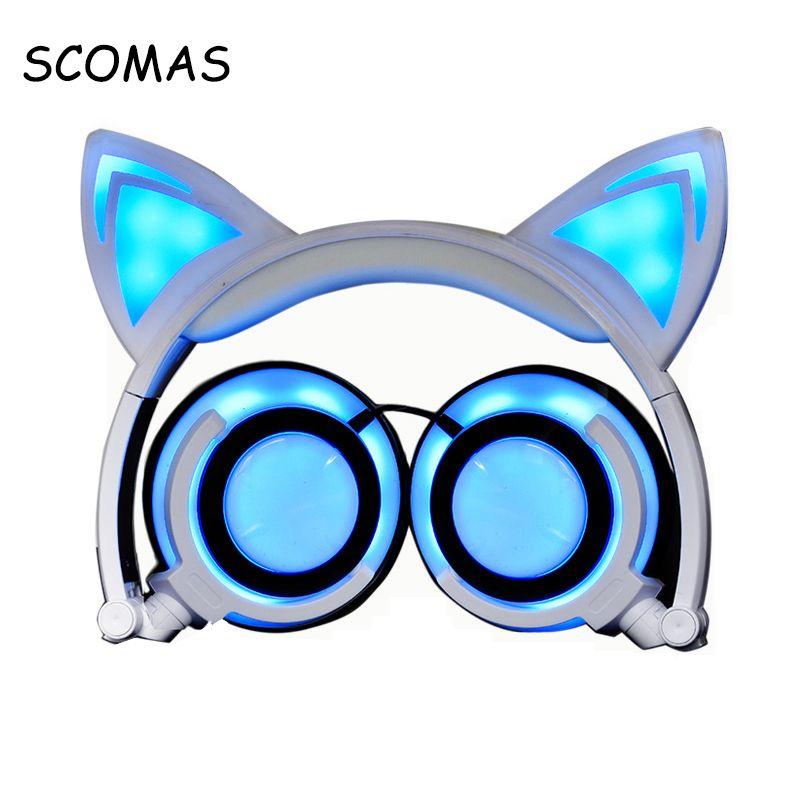 SCOMAS Chargable Headphones Headfone for Girls Glowing Ear Headphone ...