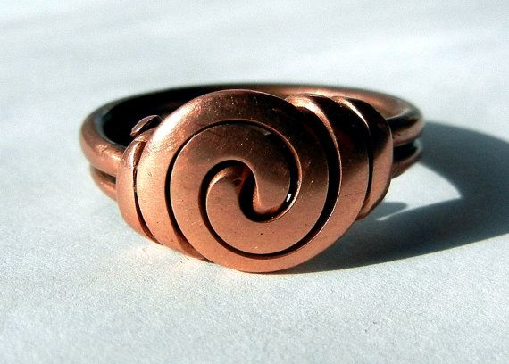 Handcrafted BOLD Swirl Copper Ring size 7 by LeahHoffmanJewelry I ...