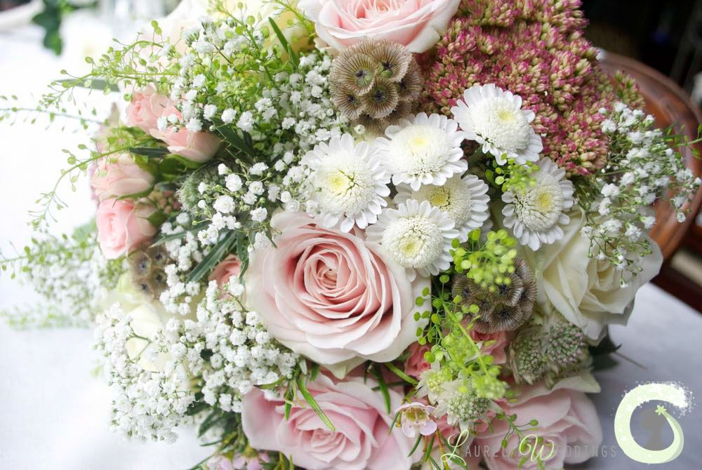 dusky pink and white bouquet with roses, babys breath, sedum and ...