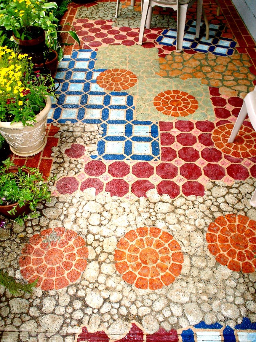 14 Amazing Painted Floors Painted cement patio, Painted