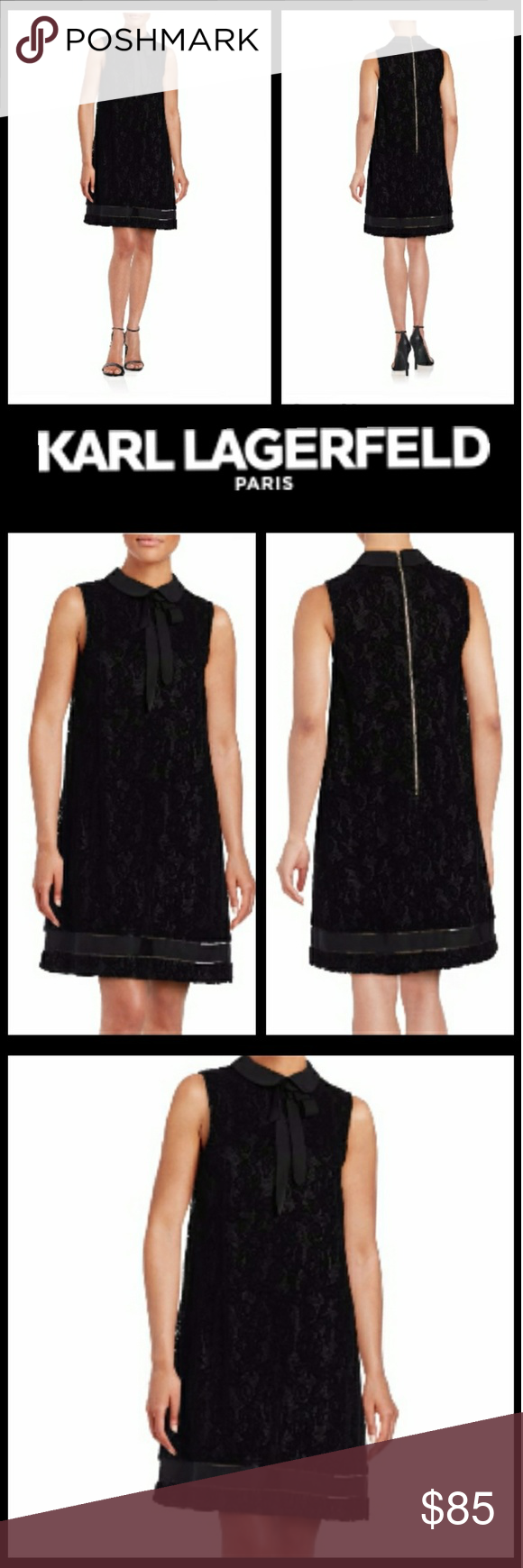 Karl Lagerfeld Paris Collared Lace Shift Dress Collared Lace Shift ...