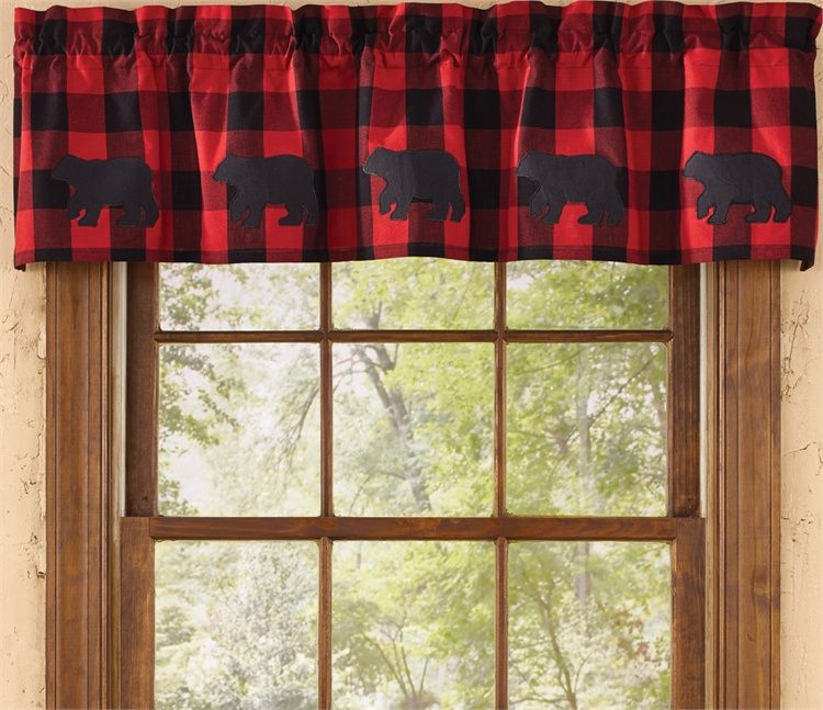 Buffalo Check Bear Curtain Valance 60 X 14 Cabin Decor Rustic Curtains Plaid Decor