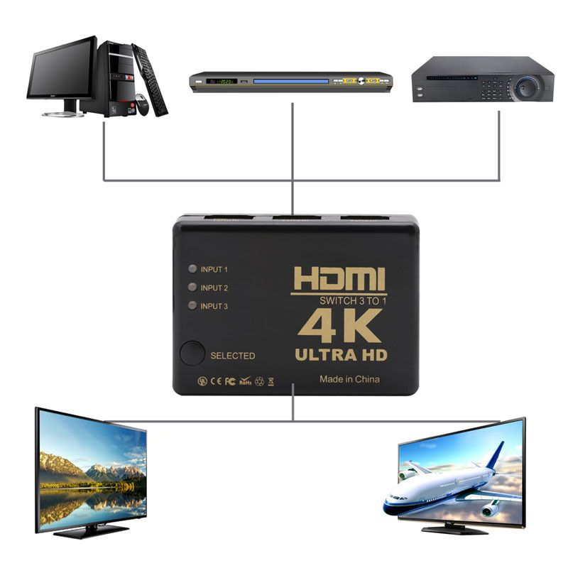 Ultra HD 4K x 2K HDMI Switch 3x1 3 Port Switcher Selector 3D 1080p W//IR Remote