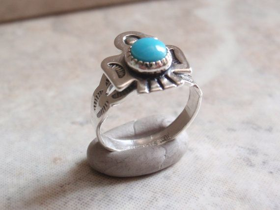 Turquoise Thunderbird Ring Bell Trading Sterling Silver Size 2 Vintage Estate on Etsy, $34.00