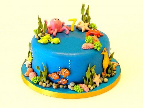 Groovy Aquarium Themed Birthday Cake Motivtorte Kuchen Kindergeburtstag Funny Birthday Cards Online Necthendildamsfinfo