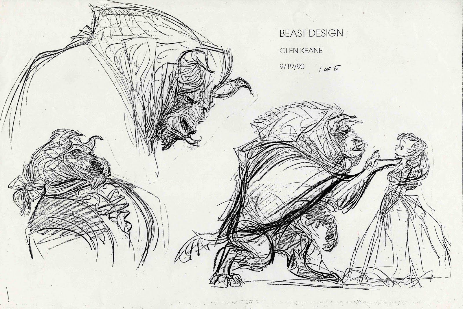 Beauty and the Beast - Beast design by Glen Keane