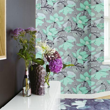 69 - Clematis wallpaper - beige - Vallila Interior