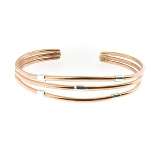 Hand-crafted Copper with Sterling Silver Accent Pieces Cuff Bracelet (Mexico) | Overstock.com Shopping - The Best Deals on Bracelets