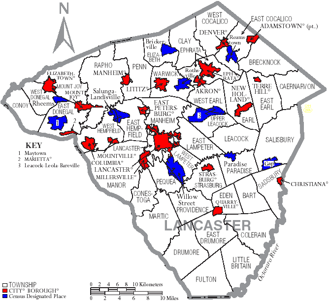 Map Of Lancaster County Townships And Municipalities