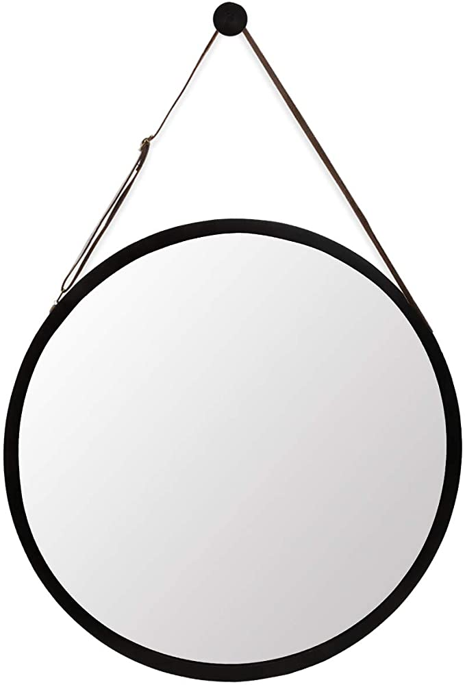 Amazon Com Hanging Round Black Wall Mirror Circle Bamboo Frame 15 Inch Adjustable Leather Strap Makeup Vanity Dressi In 2020 Black Wall Mirror Mirror Wall Mirror