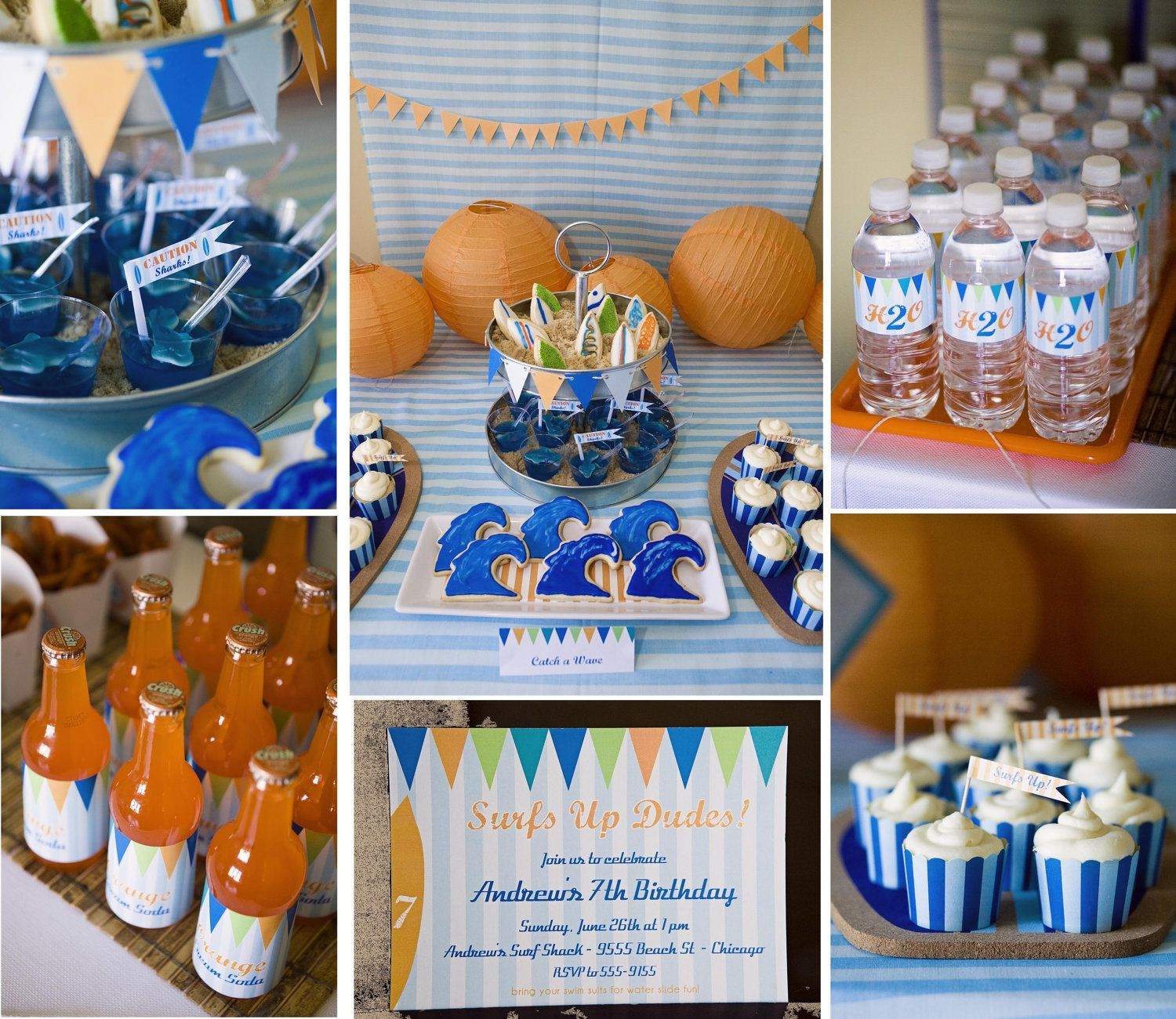 Beach party table decorations surfer dude printable party collection  invites banner bottle