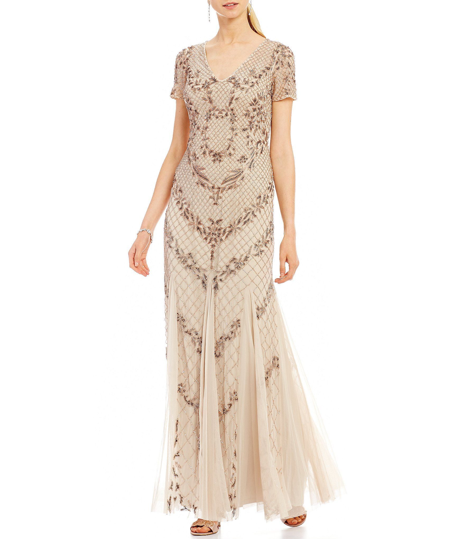 Adrianna Papell Beaded Mermaid Gown | Mermaid gown, Adrianna papell ...