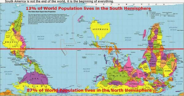 Beautiful maps on 13 of world population lives in the south hemisphere gumiabroncs Images