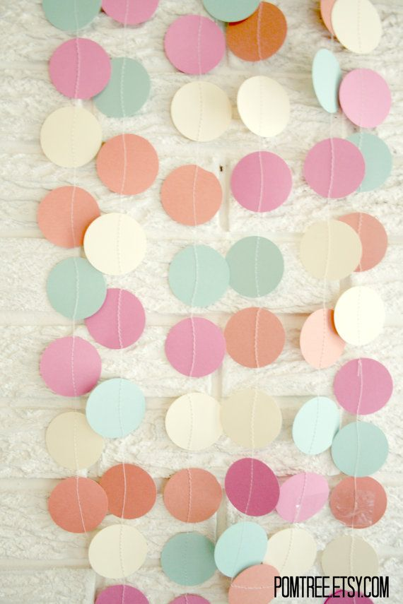 paper circle garland ... pom dot party decor banner .... 12 feet... Seafoam, coral, pearl, and dove.