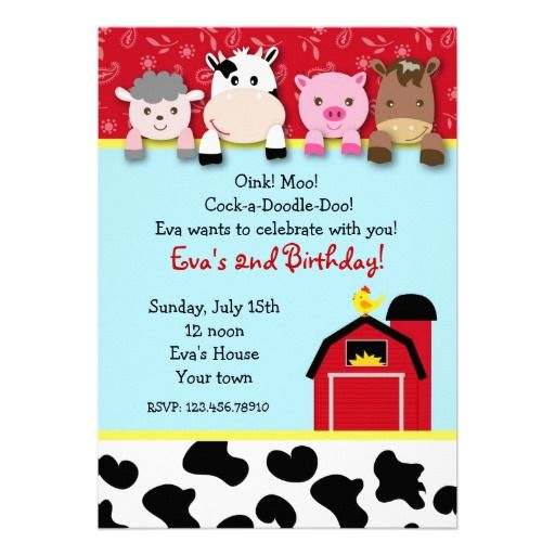 Barnyard farm animals Birthday Party invitations Pinterest