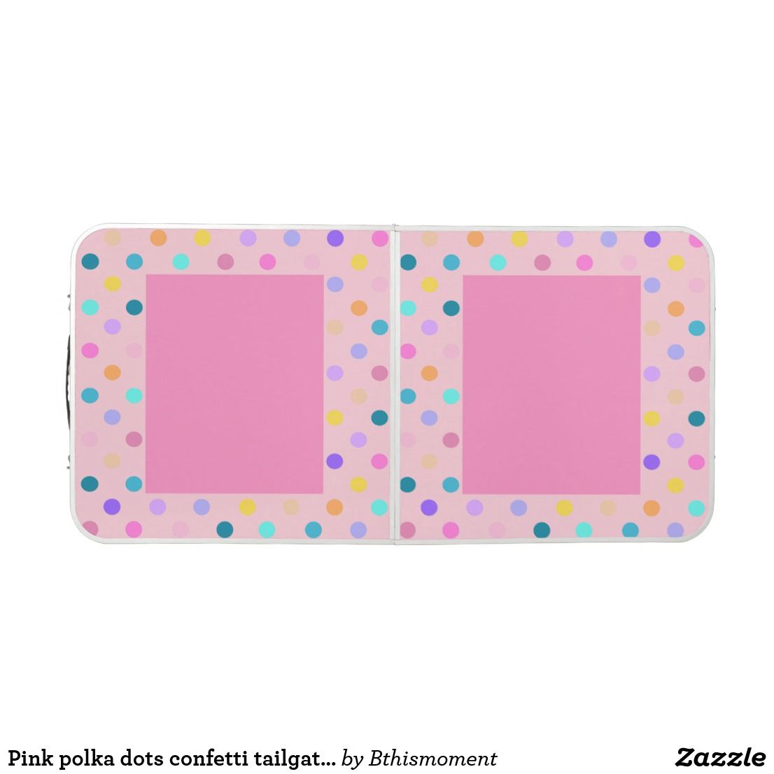 Pink polka dots confetti tailgate beer pong table