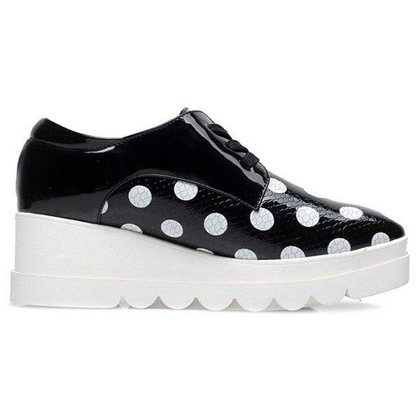 Polka Dot Lace-Up Platform Shoes (£27) ❤ liked on Polyvore featuring shoes, laced shoes, laced up shoes, lace up shoes, dot shoes and polka dot platform shoes