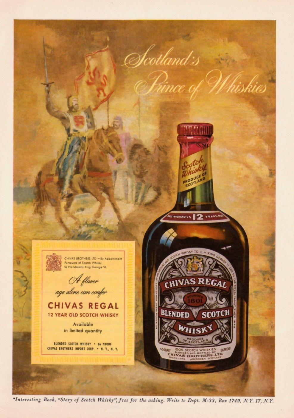 1952 Chivas Regal Scotch Bottle Art Vintage Print Ad