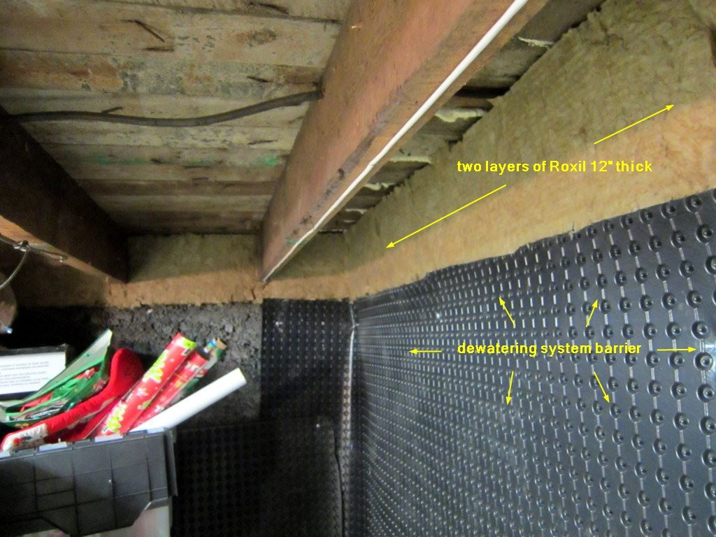 Insulating a basement wall - dewatering material and Roxul