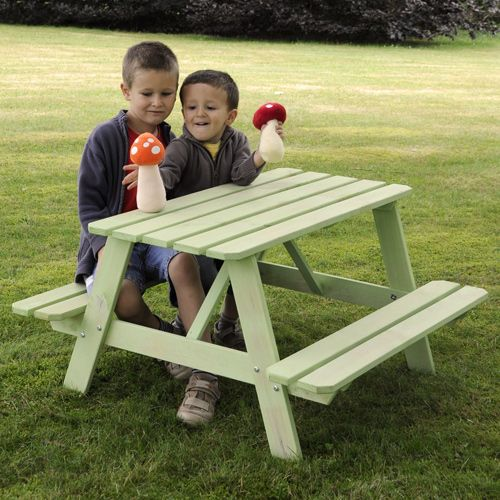 table de pique nique enfant bois lasur vert soulet decoclico mon jardin pinterest. Black Bedroom Furniture Sets. Home Design Ideas