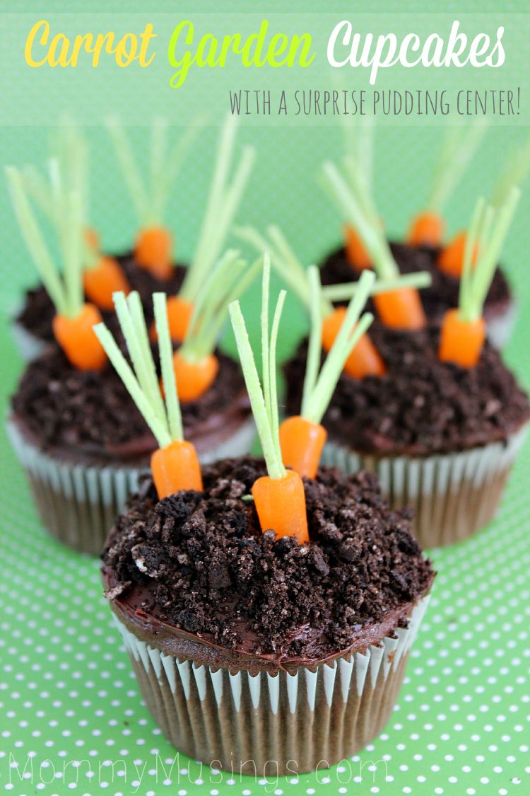 Carrot Garden Cupcakes makes an adorable Spring or Easter Treat. This recipe features chocolate cupcakes with a chocolate pudding center!