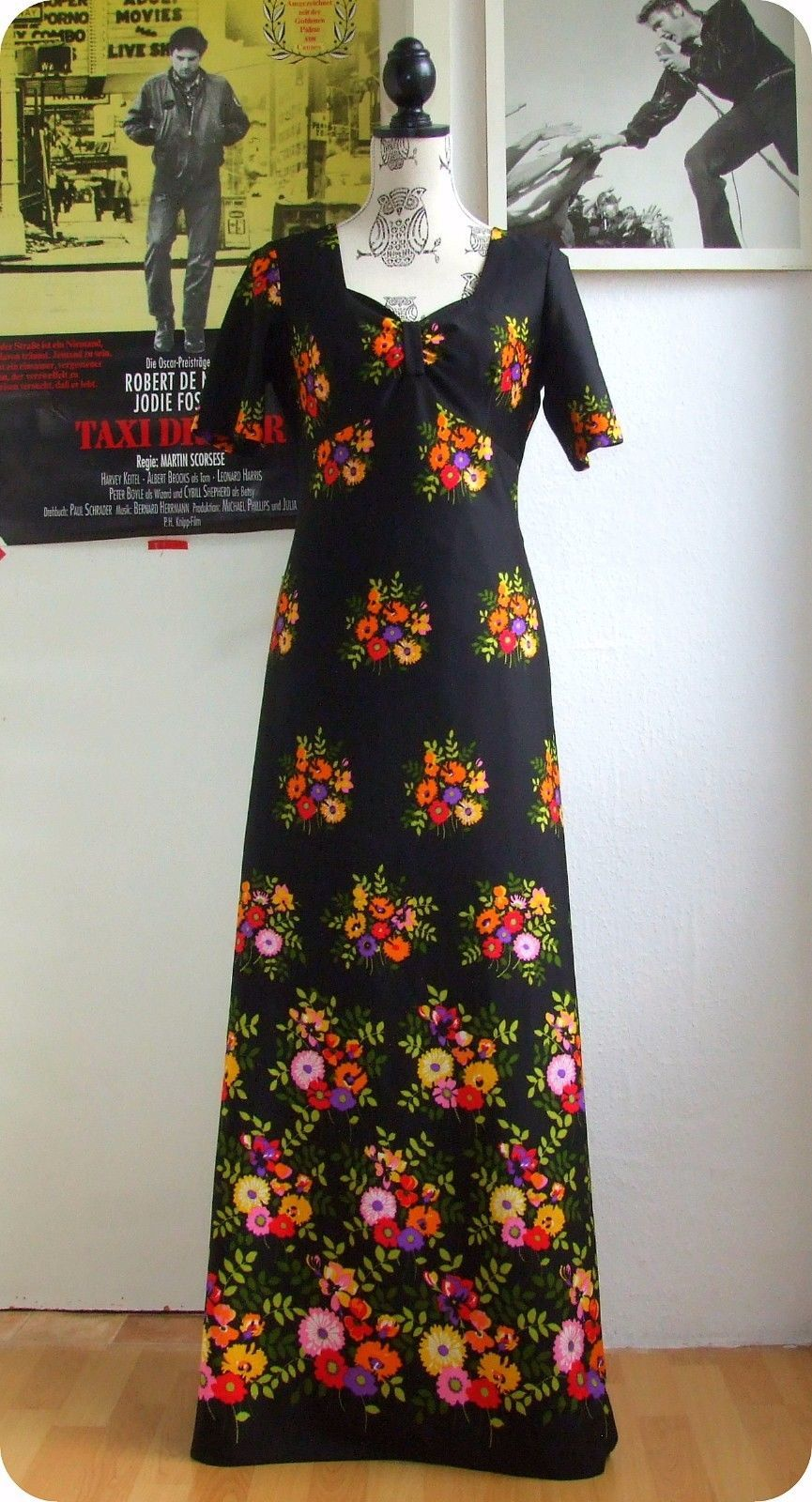 vintage maxi kleid long dress 70er blumen 70´s robe hippie