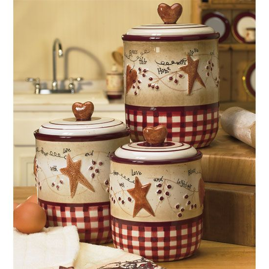 Pottery Primitive Kitchen Decor Decorative Canisters Decorating