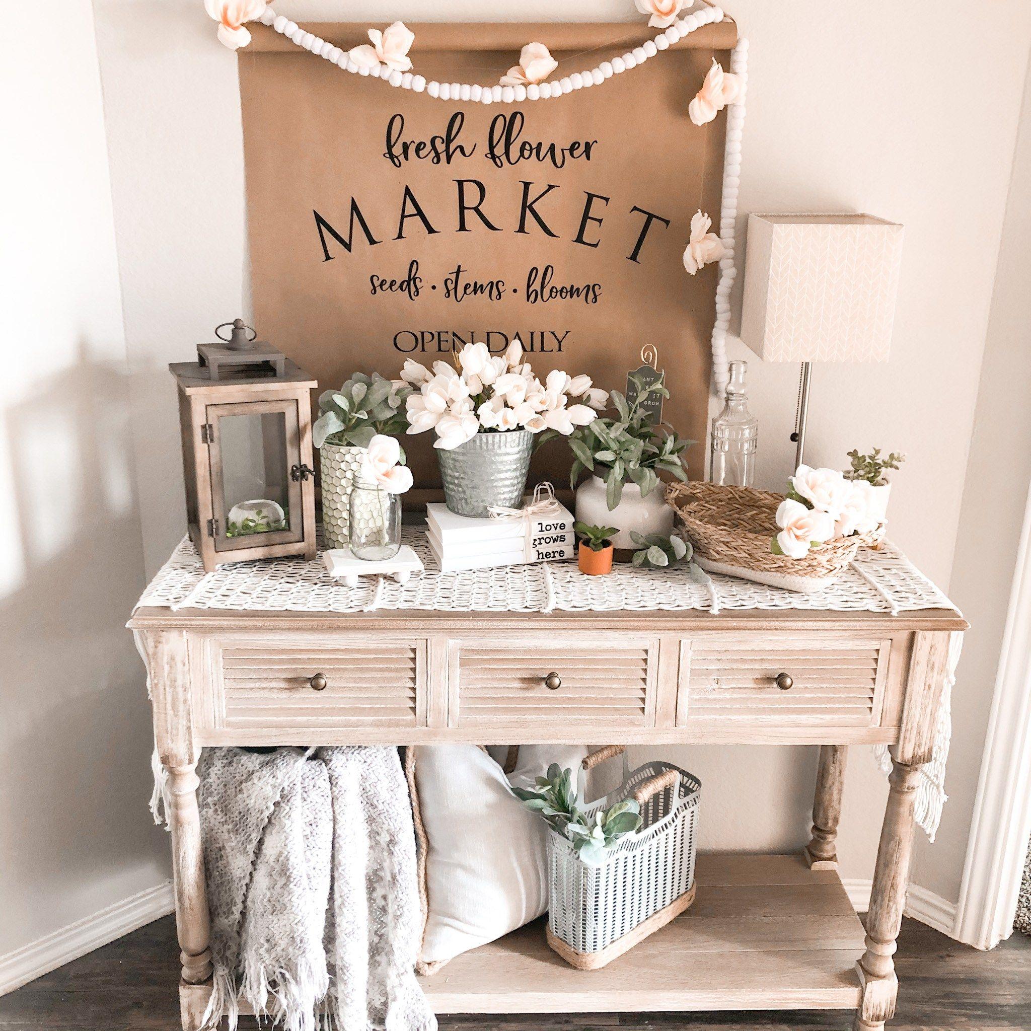 Farmhouse Spring Entryway W/$1 DIY Paper Scroll - Her Happy Home