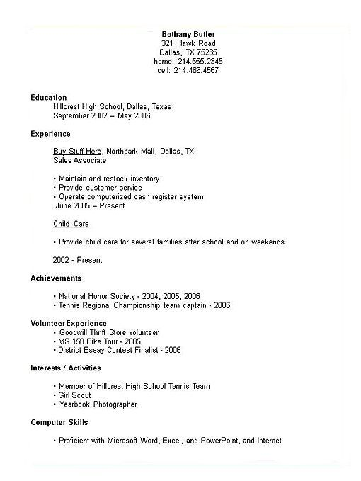 completed student resumes examples