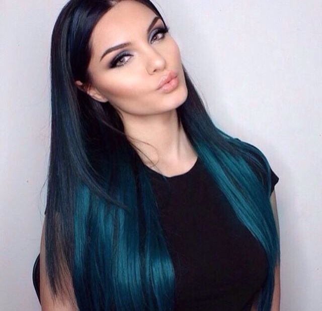 Turquoise Cyan Hair Black With Blue Highlights Ombre Green