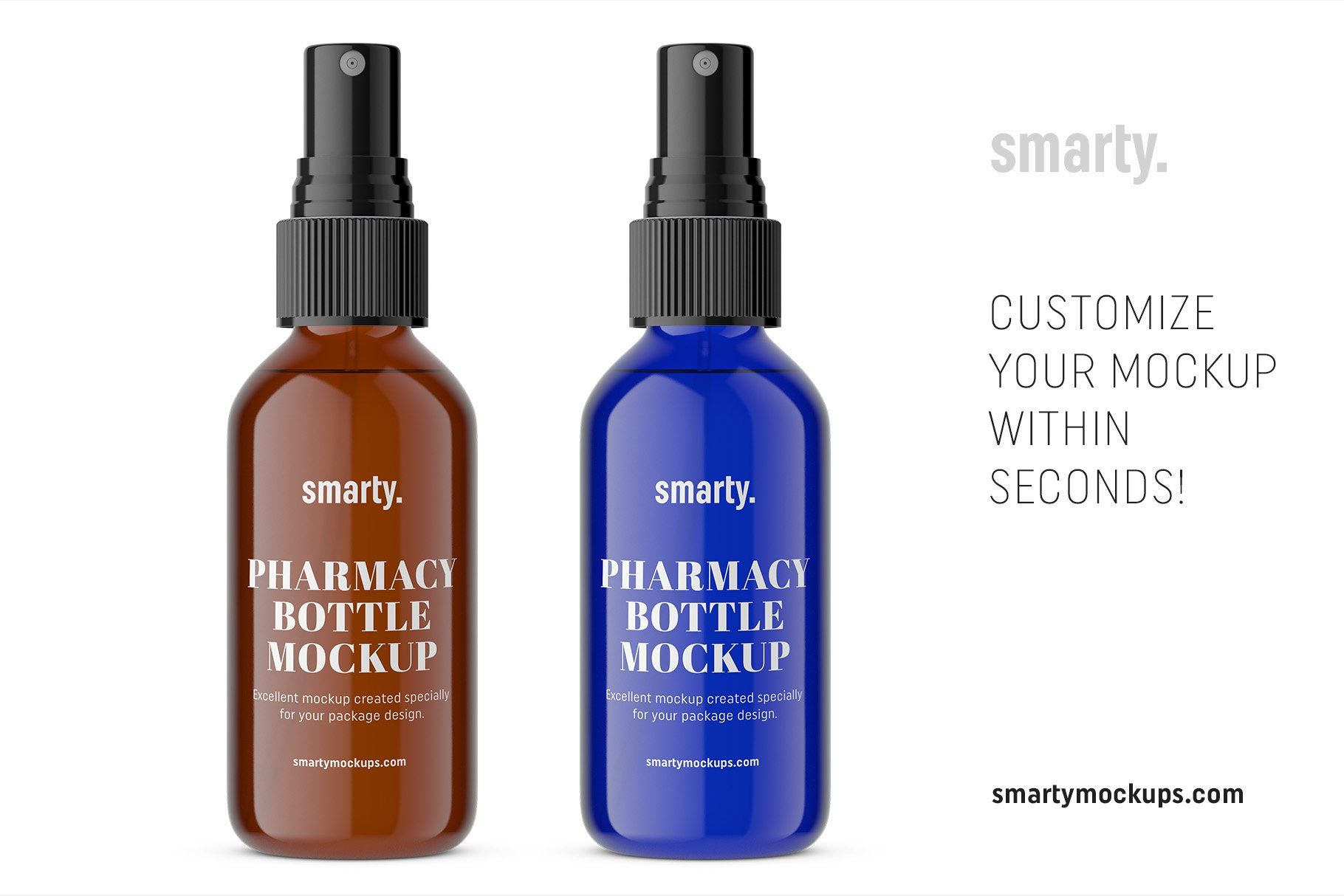 Blue Amber Spray Bottle Mockup Amber Spray Bottle Bottle Mockup Bottle