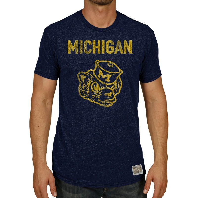 Michigan Wolverines Original Retro Brand Vintage Stenciled Wolverbear Tri-Blend T-Shirt - Heather Navy