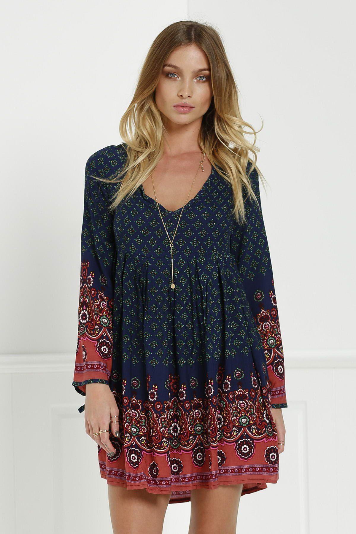 3 4 Sleeve Floral Tunic Dress Blue Womens Tunic Dress Fashion Boho Fashion [ 1800 x 1200 Pixel ]