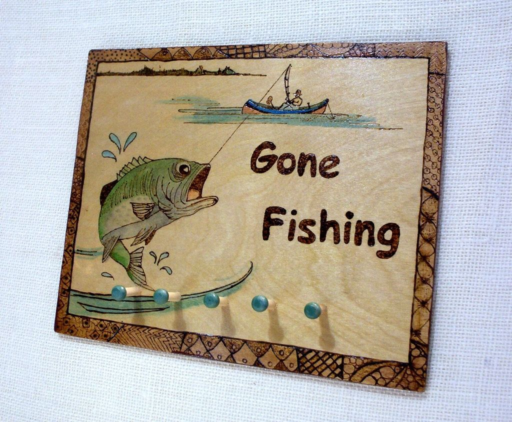 gone fishing 5 peg key rack bass fish recycled wood found objects pyrography wood burning hanger attached 10x8 inches by constersue on Etsy