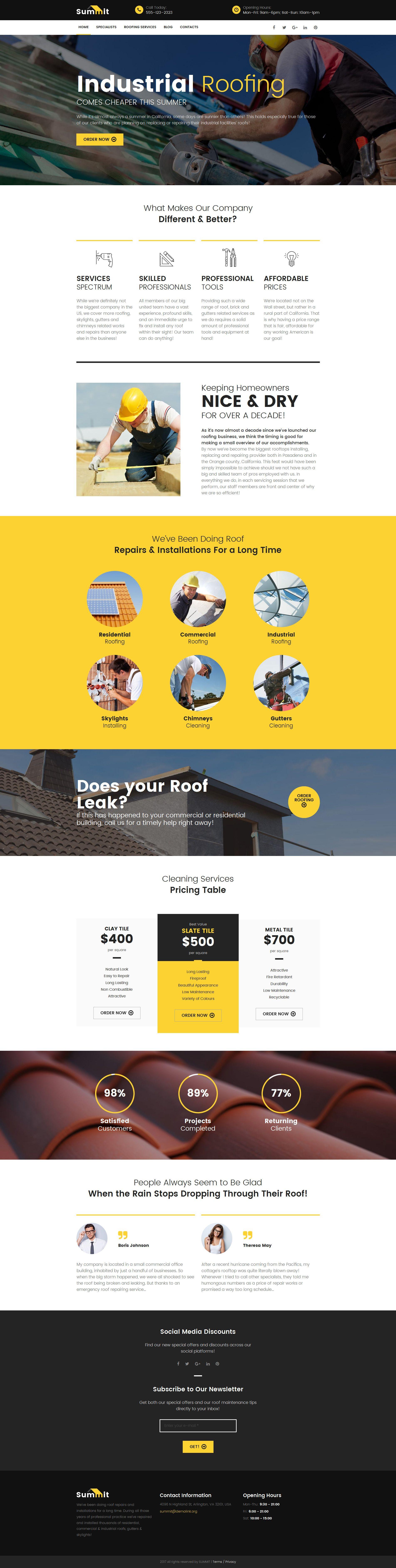 Roofing Company Responsive Moto CMS 3 Template | Handwerker