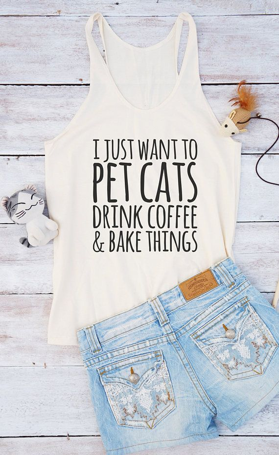7129d6ca I just want to pet cats drink coffee shirt funny shirt tumblr tee ...