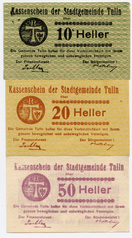 Austria Notgeld 10 20 50 Heller Tulln N O Stadtgemeinde Social Security Card Free Printables Austria