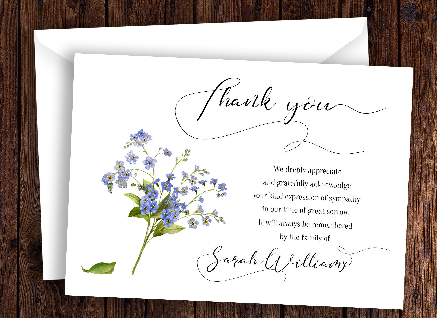 Funeral Thank You Card Template Sympathy Acknowledgement Memorial Service Notes