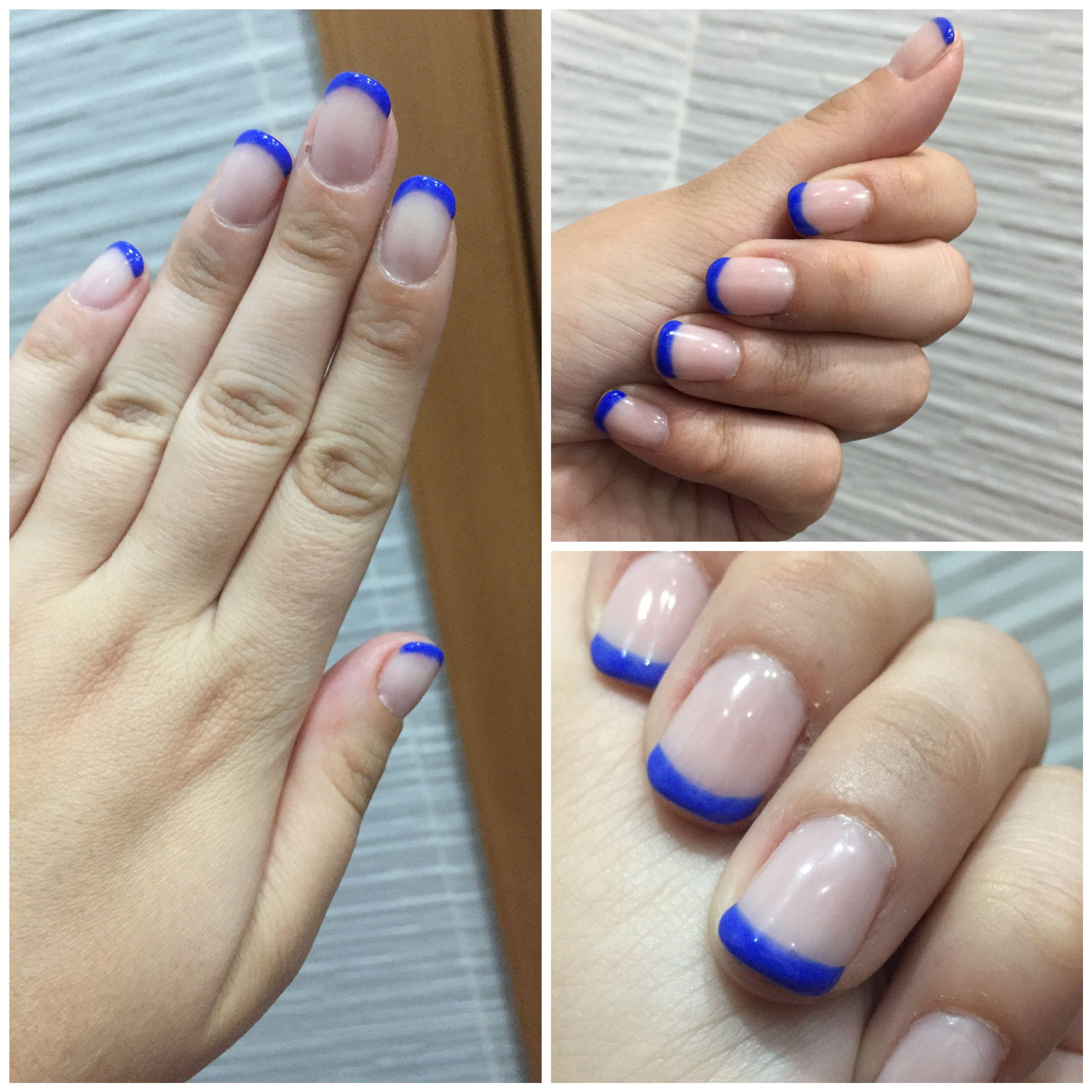 Unas primavera permanente Essie azul eléctrico francesa | Estética ...