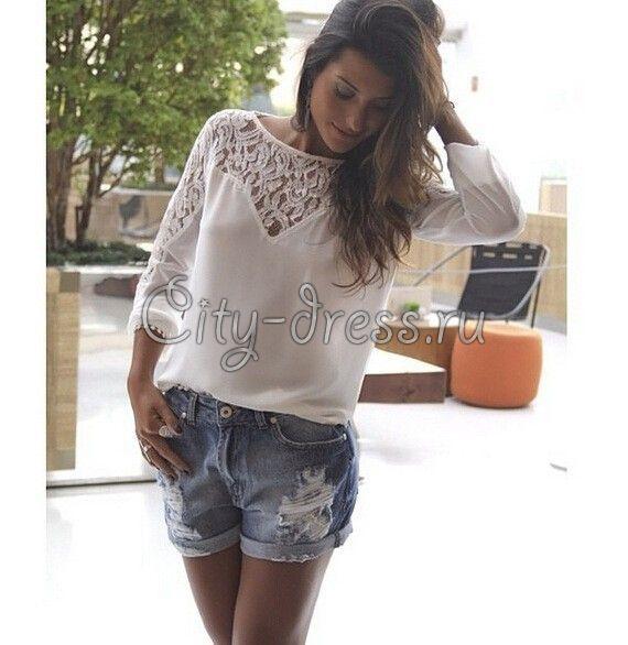 Фото шифоновая рубашка белая блузка с кружевом (с ...