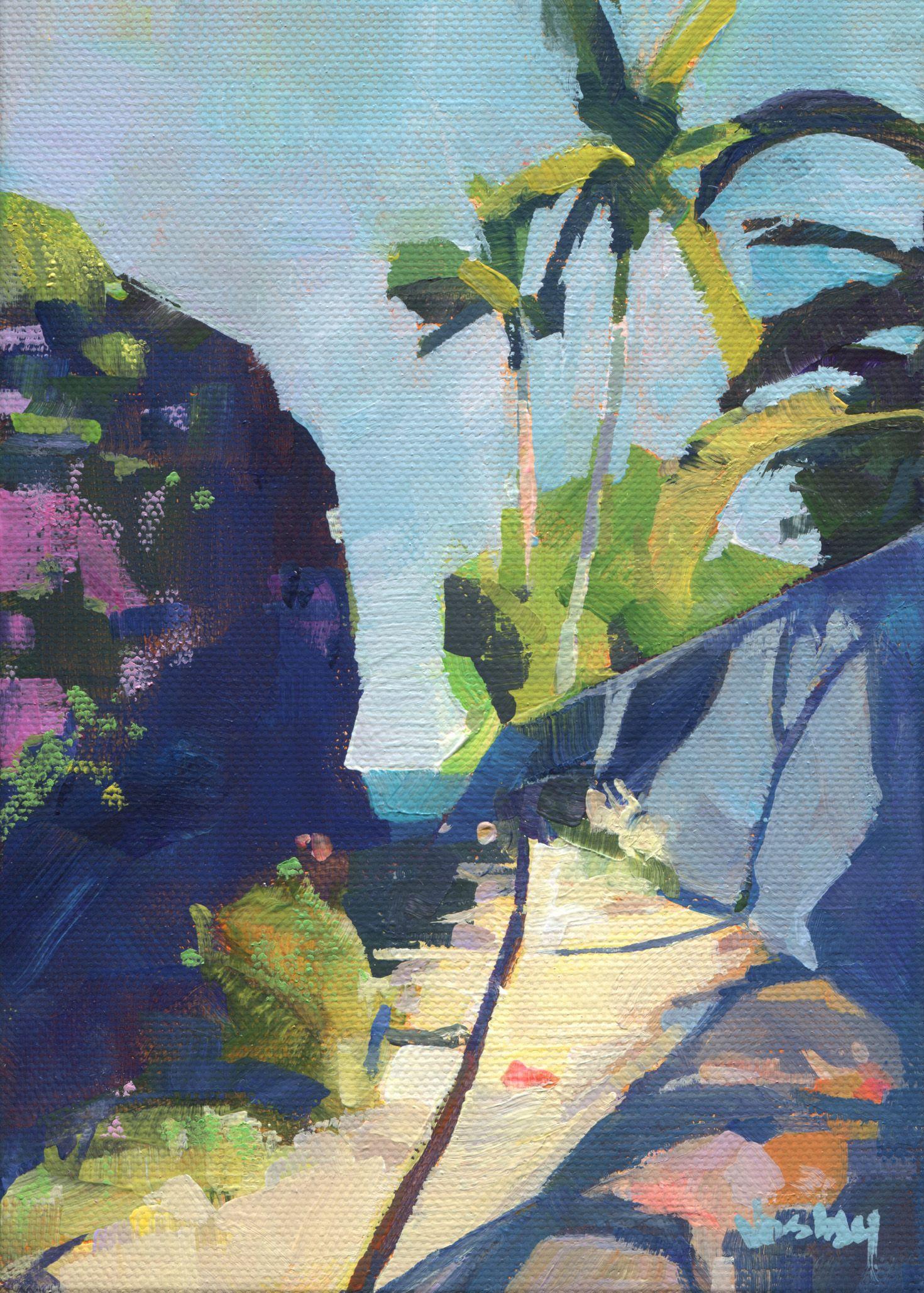 Watercolor artist magazine palm coast fl - Semi Abstract Small Artist Beach Landscape Palm Tress Art Painting Tropical Maui Island Hawaii By Stacyvosbergfineart On Etsy