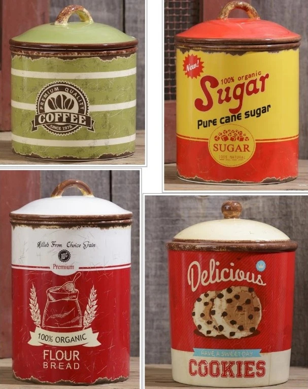 Vintage Inspired Retro Ceramic Kitchen Canisters,