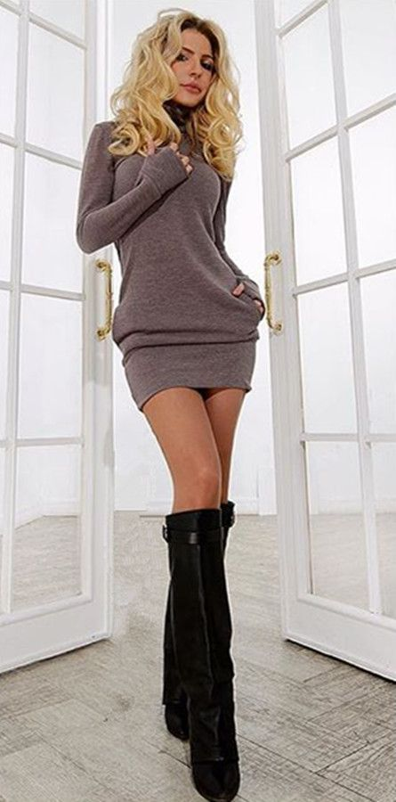 Women Long Sleeve Thumb Out Dress With Pockets Winter Clothes Dress Fall Women/'s