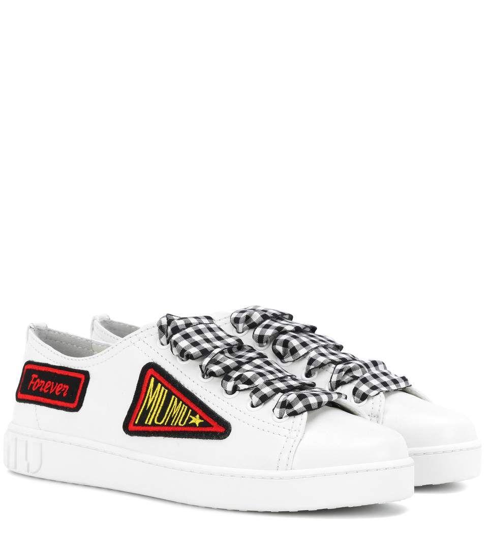 Miu Miu Appliquéd leather sneakers HL4s0Hz