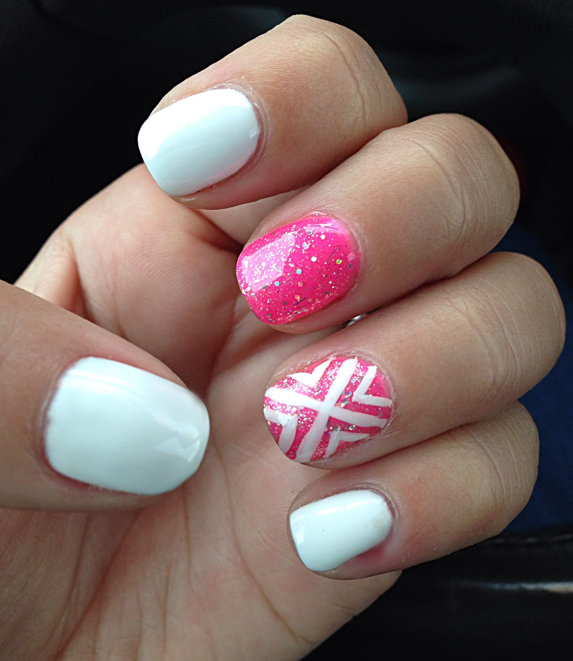 My Hot Pink & White Gel Nails! #summerNails #summer #hotPink #pink ...