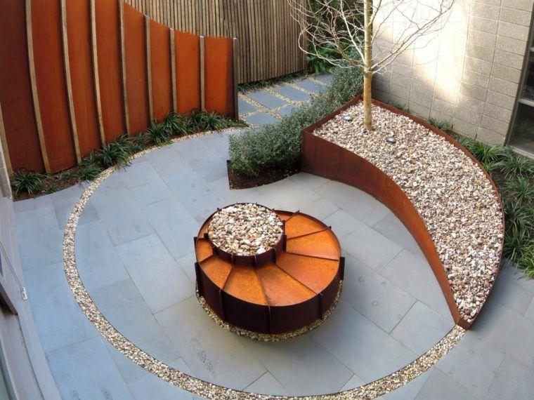 idee terrasse decoration acier corten