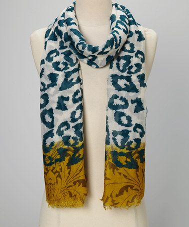 Another great find on #zulily! Turquoise & Natural Leopard Scarf by Chic #zulilyfinds