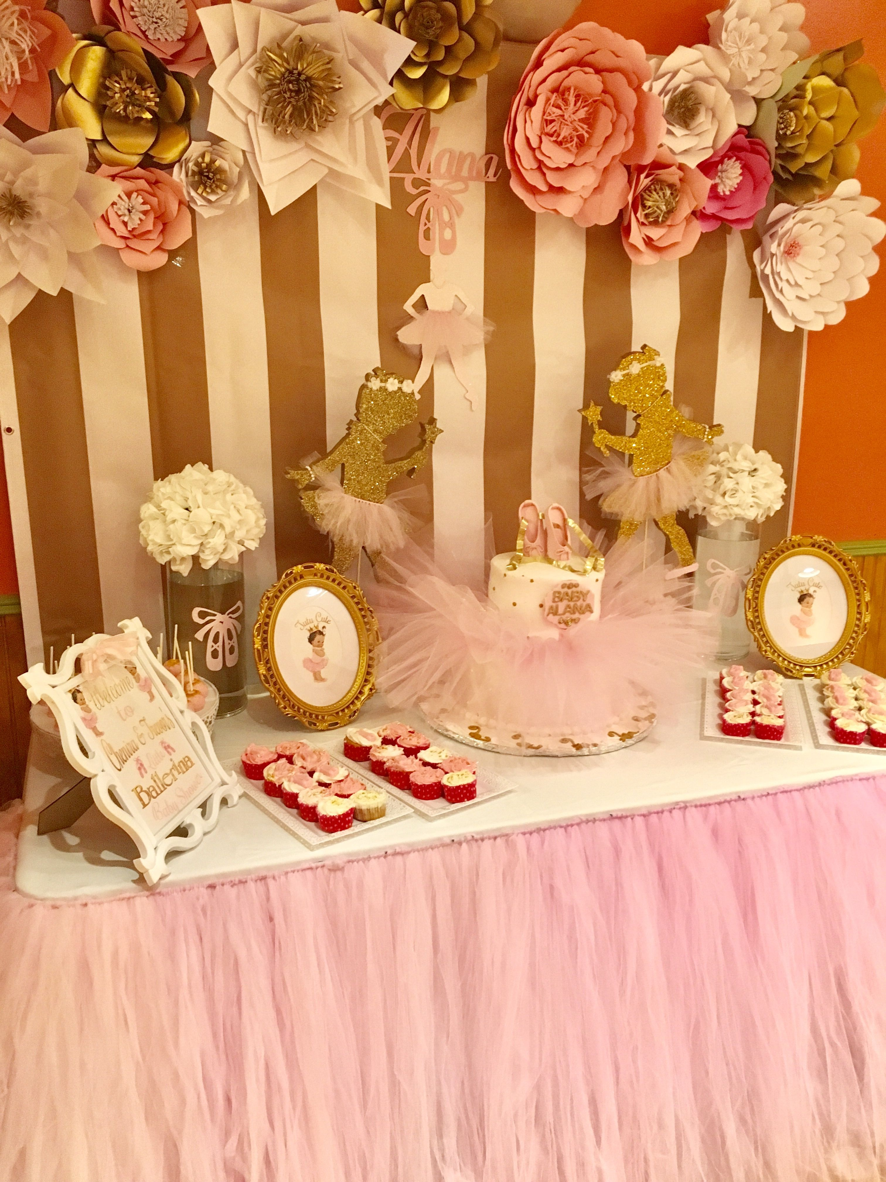 Ballerina Themed Baby Shower Cake Table With A Tutu Skirt And Paper Flow Baby Shower Cake Table Cake Table Decorations Baby Shower Ballerina Baby Shower Theme