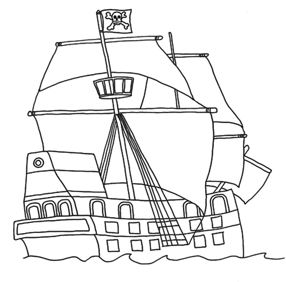 Pirates Ship Coloring Pages Pirate coloring pages, Flag