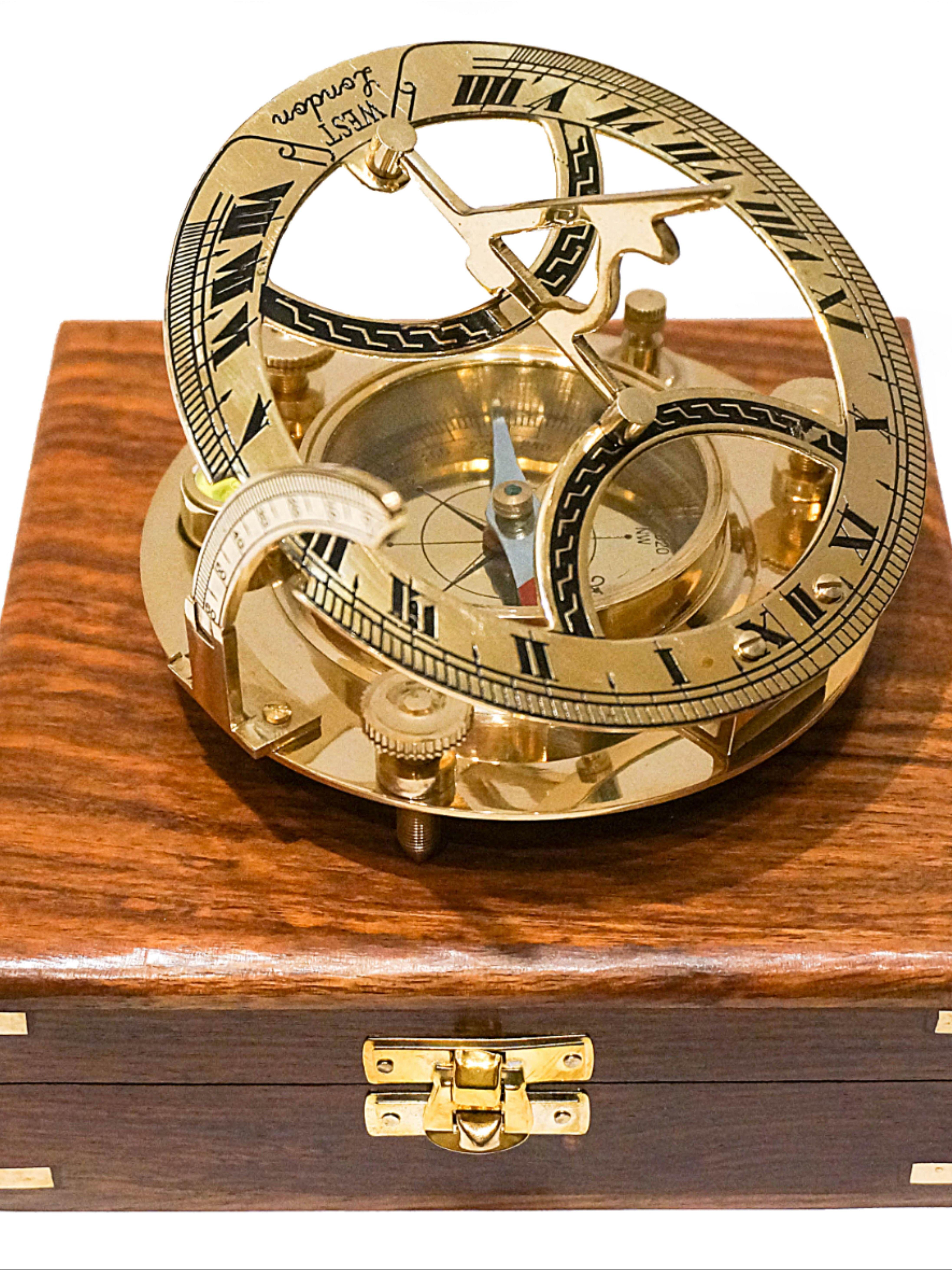 Mosiezny Zegar Sloneczny Inklinacyjny Z Kompasem W Stylowym Marynistycznym Pudelku Z Drewna Rolex Watches Accessories Rolex